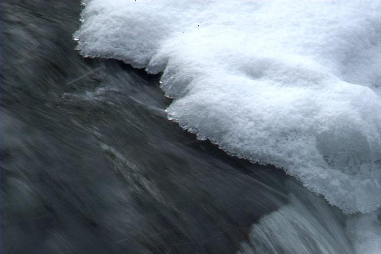 Foto mit Graufilter: Eschbach im Schnee