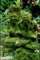 Bemooste Steinfiguren auf Bali